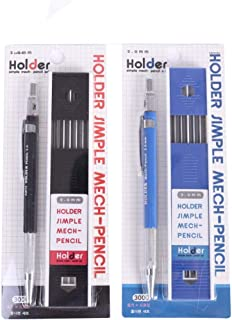 Mechanical Pencil 2 Pieces 2.0mm, XJSW 2 Case 2mm Lead Refills for Draft Drawing, Carpenter, Crafting, Art Sketching (Blue and Black)