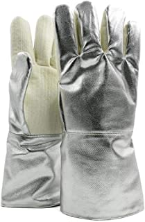 LULUD High Temperature Resistant 400 Degree Aluminum Foil Insulation Gloves Thickened Flame Retardant Industrial Fire Prev...