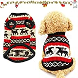 Sunshine smile Haustier Pullover,Katze Hund Pullover,Haustier Katze Hund Pullover,Strickwaren Haustier Pullover,Hundemantel,Hundejack,Hund Katze Strickpullover,Hundekostüm Weihnachten(L, Rotes REH)