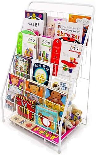descuento de bajo precio XCXDX Soporte De Exhibición De Libros, Estante De Metal blanco, blanco, blanco, Librero para Niños, Estante De Periódico De Revista E  suministramos lo mejor