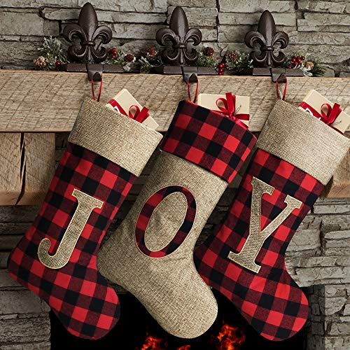 Meriwoods Chirstmas Stockings 3 Pack 18 Inch, Large Burlap Buffalo Plaid Xmas Stockings with Embroidered Joy, Country Rustic Personalized Holiday Indoor Decorations for Family