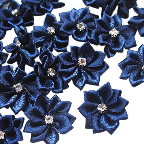 Chenkou Craft Navy 40pcs 28mm(1 1/8') Ribbon Flowers Bows Rhinestone Wedding Ornament Appliques
