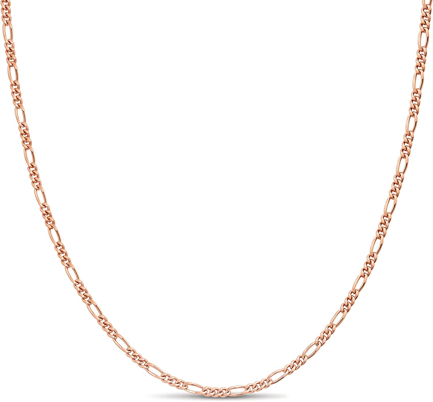Rose Gold Plated Sterling Silver Figaro Chain Link Necklace Ital