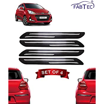 Fabtec Bumper Protector Guard Double Chrome Strip for Hyundai Grand i10 (Set of 4) Black (Double Chrome Strip)