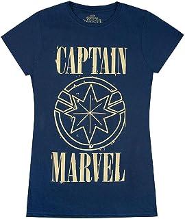 Marvel Captain Marvel Print and Shield Womens Navy T-Shirt