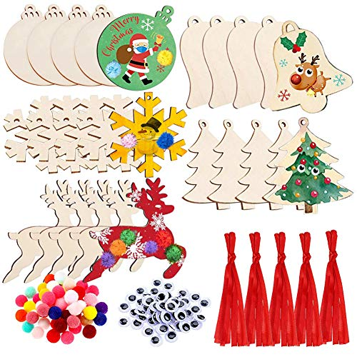 Unfinished Wooden Christmas Ornaments, 25Pcs DIY Christmas Crafts for Kids, Natural Wood Cutout Kit with Twines Pom-Poms Googly Eyes, Predrilled Wood Slice for Christmas Tree Hanging Decorations