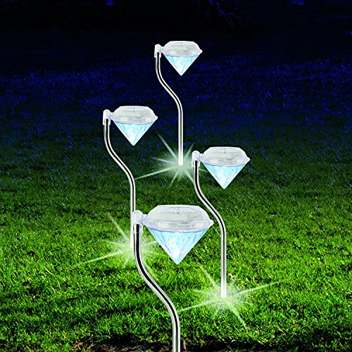 Solar Leuchte Diamant 4 Stück Außenbeleuchtung Garten Beleuchtung Farbwechsel