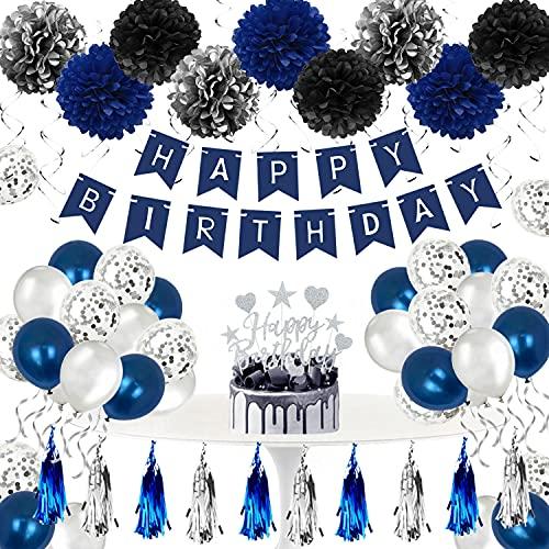 Humairc Decoration Anniversaire Homme Ballon Anniversaire Garcon Bleu Argent, Banderole Joyeux Anniversaire Pompons Papier Decor Gateaux Ballons Confettis Spirale Argent - pour Femme Fille Enfant