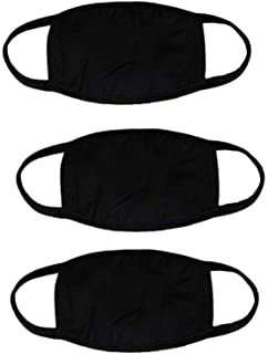 YYaaloa 3pcs Reusable thin Cotton Mouth Mask Black Anti Dust Face Mask for Men and Women for Outdoor Half Face Masks (style 2-3pcs Black)