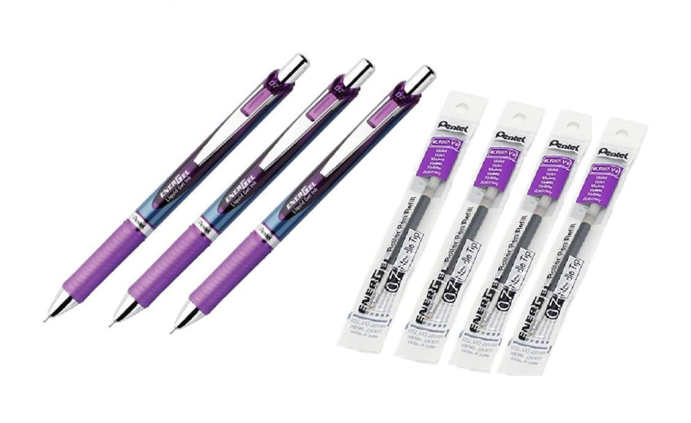 西部多様性ハウジングPentel EnerGel RTXローラーボール格納式Gelペン, Needle Tip ,バイオレットインク, Medium Point Pentel 3パック、lrn7-v EnerGel Refills , 0.7?MM Medium ...
