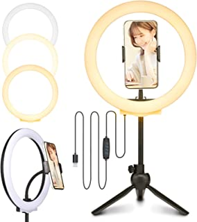 Linkind LEDリングライト 10インチ 120LED高輝度 三脚スタンド付き 3色モード&10段階調光 USB給電式 zoom/web会議/女優ライト/オンライン授業/ビデオ/生放送/自撮り/美容化粧