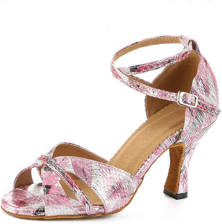 HCCY Lateinamerikanische Tanzschuhe des Rosafarbenen Druckes weibliche weiche weiche Art und Weisetanzschuhe  | Tragen-wider  | Um Sowohl Die Qualität Der Zähigkeit Und Härte  | Treten Sie ein in die Welt der Spielzeuge und finden Sie eine Quelle des Gl