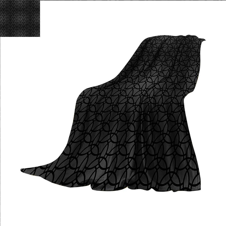 Smallbeefly Dark Grey Digital Printing Blanket Geometric Pattern with Oriental Elements Mgoldccan Style Curves Lattice Grid Summer Quilt Comforter 60 x50  Black Dimgrey