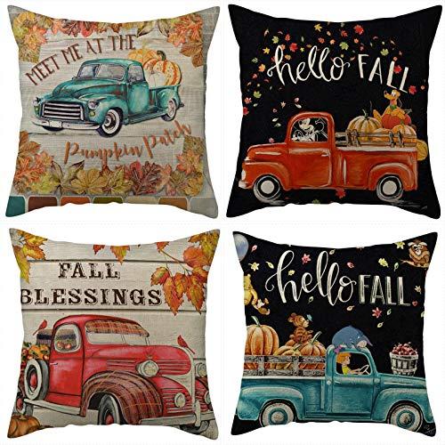 Fodere per cuscini GJCrafts, 4 pezzi di fodere per cuscini per federa quadrata in lino, camion della zucca del ringraziamento Immagine vintage Decorazioni casa per divano auto camera da letto 45*45 cm