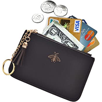 AnnabelZ Coin Purse Change Wallet Pouch Leather Card Holder with Key Chain Tassel Zip(Black)