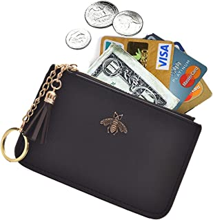 Coin Purse Change Wallet Pouch Leather Card Holder with Key Chain Tassel Zip(Black)
