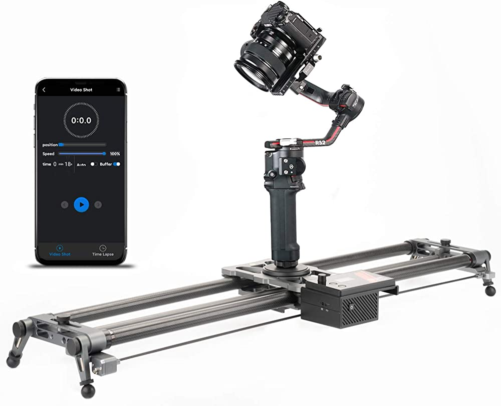 Yc onion, slider motorizzato per videocamera, controllo app in fibra di carbonio, 3.0 hot dog-60cm