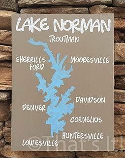 SWQAA Lake Norman map, Hand Painted, Wood Sign, North Carolina, Lake Norman Art, Lake Sign, Nautical Decor, Nautical map, Housewarming Gift