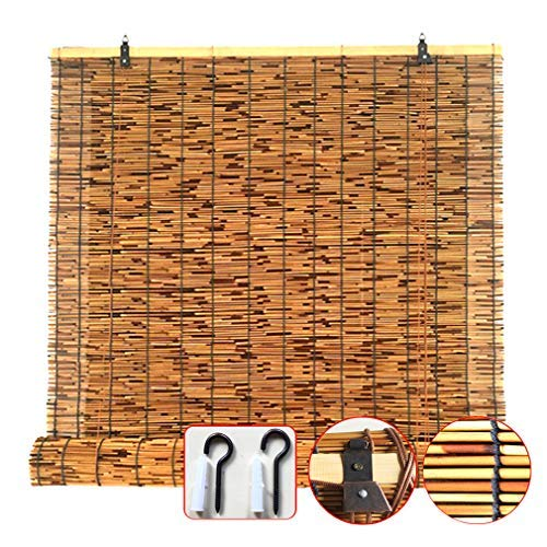 KDDEON Handgewebter Natürlicher Schilf Vorhang,Trennwand Karbonisierung Strohjalousien,Wasserdicht/Staub/Wärmeisolierung/Anpassbar,mit Lifter,für Außen-/Innenbereich (50x60cm/20x24in)
