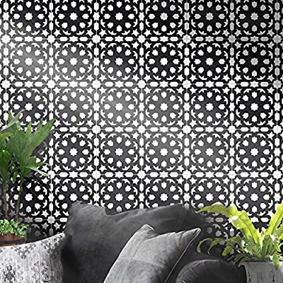 Moroccan Mosaic & Tile House CTP29-01 FES Handmade Cement Tile, Pack of 12, Black and White
