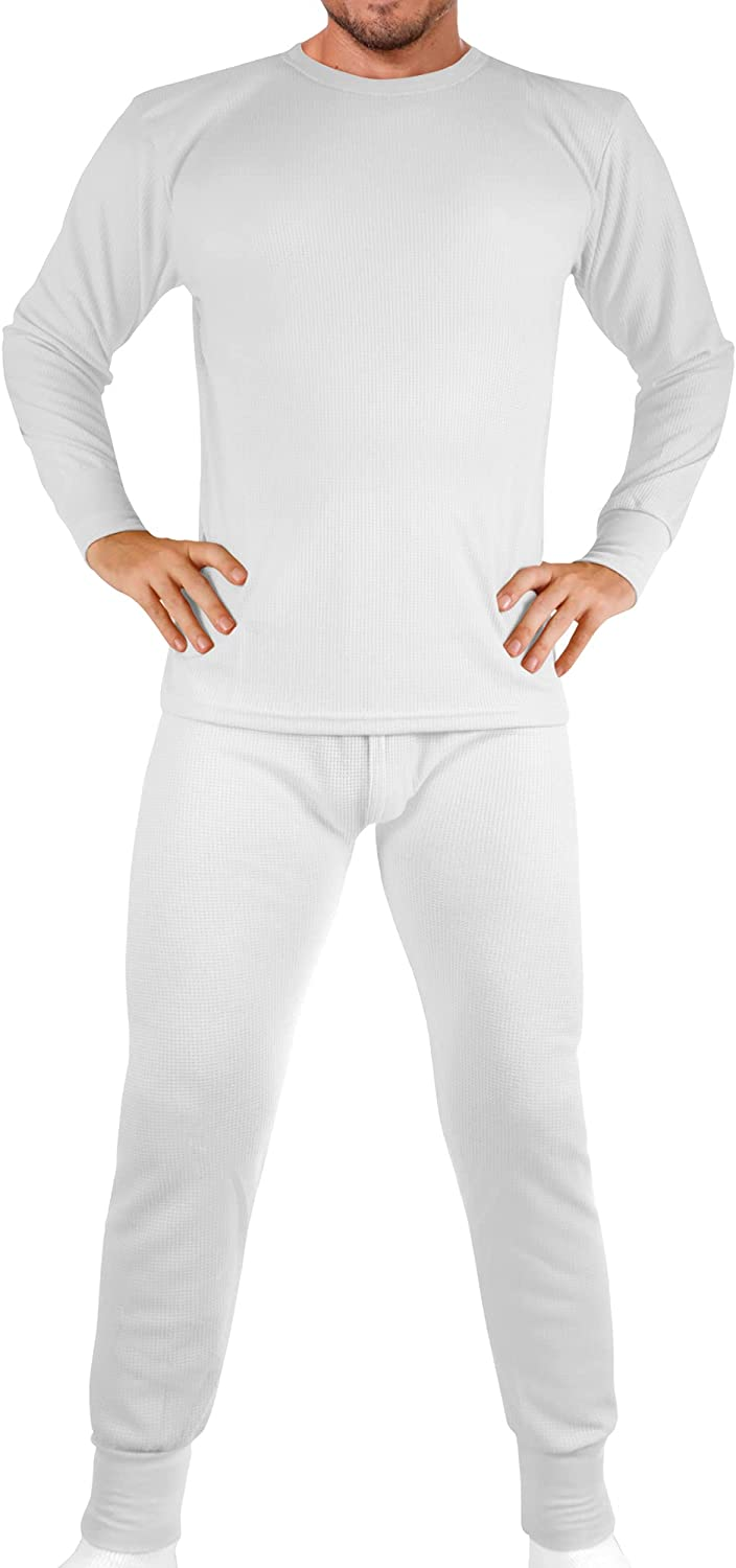 Men's Cotton Waffle Knit Thermals White