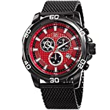 Joshua & Sons Men's Chronograph Watch - 3 Multifunction Subdials with Date Window On Textured Dial - Stainless Steel Mesh Bracelet - JX123