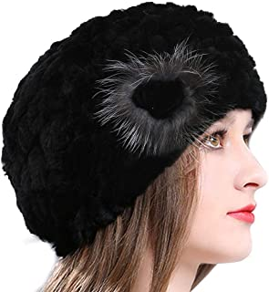 Winter Berets for Womens Rex Rabbit Beanies Knitted Cashmere Hats Multicolour
