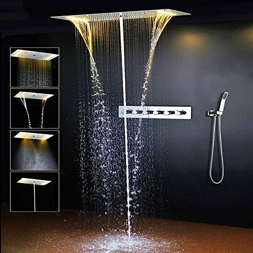 ONLT Duschsystem,4 Funktion Dusche mit konstanter temperatur,380x700 mm,Spa spray, Regen, 304 Edelstahl, intelligente digitale Touch Display,Handbrause