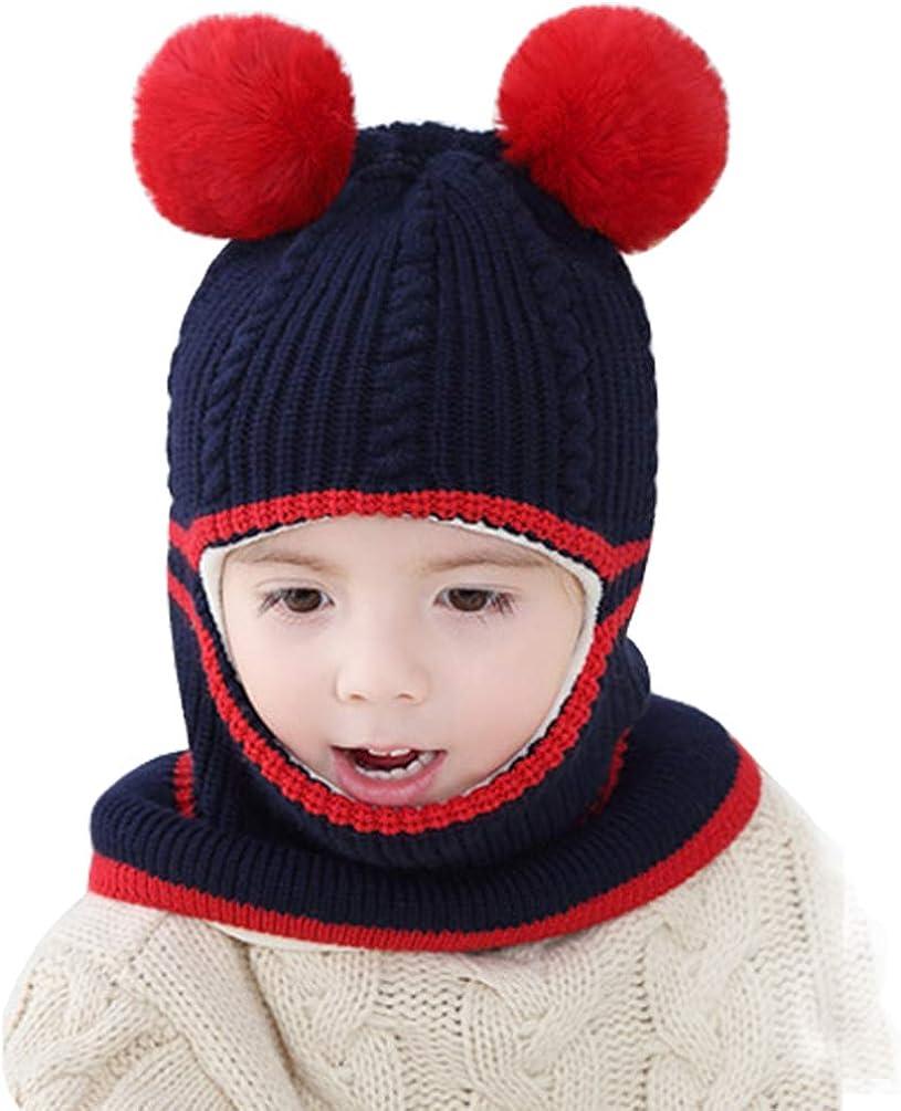 Ugitopi Baby M/ädchen Jungen Winter Fleece Futter Hut Kleinkind gestrickte Kapuze Schal Beanies