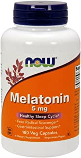 NOW Supplements, Melatonin 5 mg, Free Radical Scavenger*, Healthy Sleep Cycle*, 180 Veg Capsules