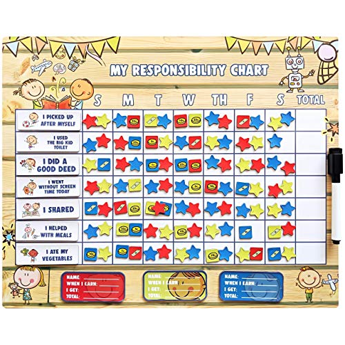 Responsibility Chart for Kids, Chore Chart, Chore Chart for Kids Multiple Kids, Behavior Chart for Kids at Home, Student Awards and Incentives Star Chart & Chore Board 16x13'