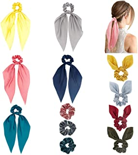 Hair Scarf Scrunchie Solid Color, Funlovin 12 Silk Hair Scarves Scrunchies with Bow Bunny Ear Cute Soft Velvet Ponytail Holder Scrunchy Pack Hair Ties for Women Grils Red/Pink/Yellow/Blue/Grey/Green