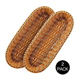 2 Set 14.5' Poly-Wicker Bread Basket, Long Woven Tabletop Food Serving Basket, Honey Brown - Set of 2