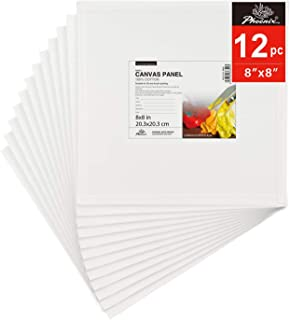 PHOENIX Painting Canvas Panel Boards - 8x8 Inch / 12 Pack - 1/8 Inch Deep Super Value Pack for Oil & Acrylic Paint