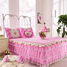 RUIDP Bed Valances Cotton Solid Color Lace Resistant Ruffled Three Floors Valance Sheet dust-Proof Quilted Thicken Valance Sheet Double Pink Bed Skirt Washable Easy Care