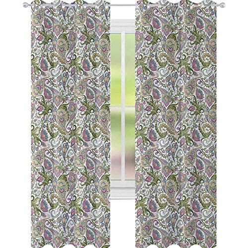 YUAZHOQI Paisley Room Darkening Curtains Traditional Persian Pickles Pattern Vintage Style Arabesque Ornament Drapes for Living Room 52' x 108' Green Purple Light Brown
