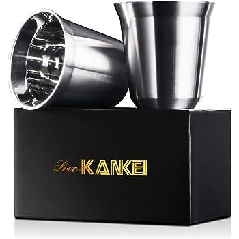 Love-KANKEI エスプレッソカップ ステンレス 2個セット 150ML 日本酒用 コーヒー用 ステンレス二重カップ 収納箱付