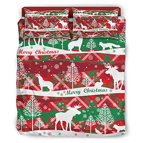 CABOTURN Christmas Red Deer Warm Four-Piece Bed Set Polyester for Bedroom White Cal King