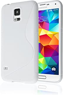 Galaxy S5 Case, [Rubber] Galaxy S5 Case, by Cable and Case(TM) - Transparent Purple Non-Slip Soft Jelly Cover with Vibrant Trendy Colors and Sure Grip Texture (Galaxy S5) (White)