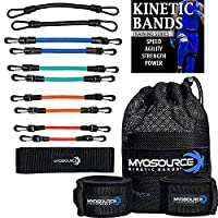 Kinetic Bands Leg Resistance Speed Bands - Speed and Agility Digital Training Videos, Workout Guides, Bonus Stretching Strap - 3 Options (BEG, INT, ADV) Specifically Designed for Maximum Results, unisex, Level 3: Advanced Athletes - Black, Blue, Green, Or