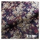 VIAIA Tela de satén Brocado Material de Tela de Vestido Hermoso para Hacer Cheongsam y Kimono (Color : Negro, Size : 50x75cm)