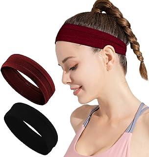 Calbeing Non Slip Headbands for Women Men, Grip Silicone Yoga Sweatband, Stretchy Soft Running Wicking Head Sweat, Lightwe...