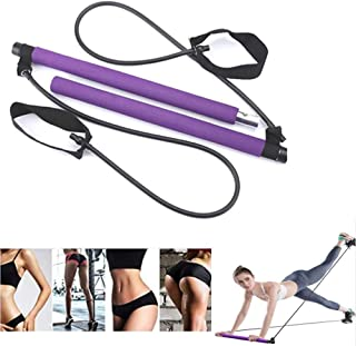 ZS-Juyi Exercise Resistance Band Yoga Pilates Bar Kit Portable Pilates Stick Muscle Toning Bar Home Gym Pilates with Foot ...
