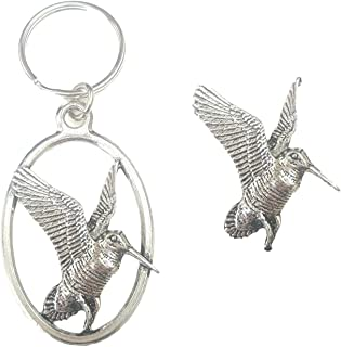 Emblems-gifts Beccaccia Uccello Portachiavi e Spilla Badge Inscatolato Set Regalo Fatto a Mano in Peltro Solido + 59mm Spilla