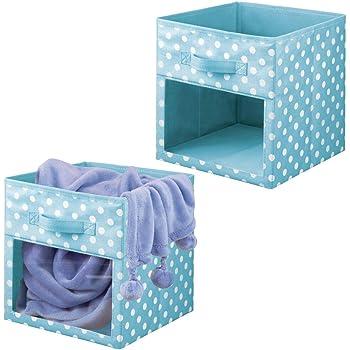 mDesign Juego de 2 cajas organizadoras de tela – Organizador de armario para ropa de bebé, mantas, etc. – Caja de almacenaje de lunares con asa y ventanilla – lunares azul turquesa/blanco: