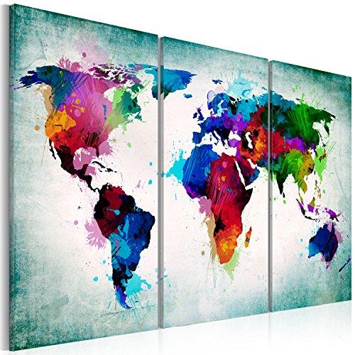 murando - Bilder Weltkarte 120x80 cm Vlies Leinwandbild 3 Teilig Kunstdruck modern Wandbilder XXL Wanddekoration Design Wand Bild - Abstrakt bunt Landkarte Reise k-A-0006-b-h