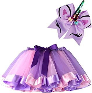 BGFKS Layered Ballet Tulle Rainbow Tutu Skirt for Little Girls Dress Up with Matching Sparkly Unicorn Hairbow