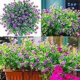 YYHMKB 15 Piezas de Flores Artificiales para Exteriores, jardineras Artificiales de Flores para Exteriores, Resistentes a los Rayos UV, Plantas Falsas, al Aire Libre, Fiesta Nupcial, Boda