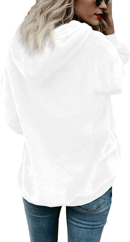 COCOLEGGINGS Womens Sherpa Pullover Fuzzy Fleece Sweatshirt Oversized Hoodies
