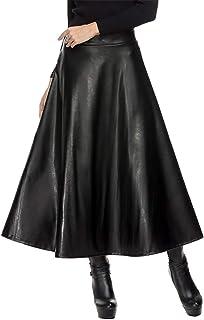 51e6386f470d81 Amazon.fr : Jupe Longue Cuir - Noir